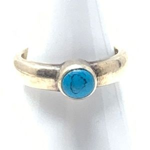 Silver Stamped 925 Turquoise Ring Size 7
